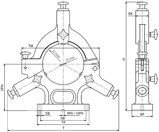 Serienlünette ab Lager - mit klappbarem Oberteil, gebaut von H. Richter Vorrichtungsbau GmbH, Deutschland